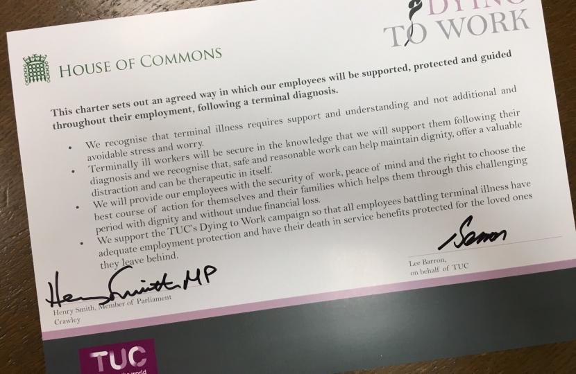 Crawley MP signs TUC Dying to Work charter