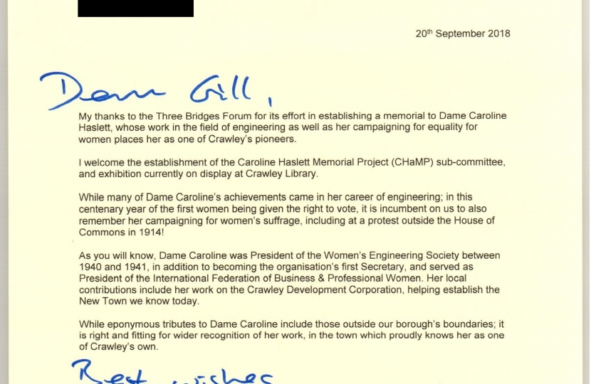 Henry Smith MP letter to Three Bridges Forum on Dame