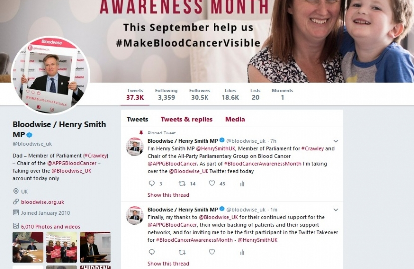 Henry Smith MP calls on Prime Minister to Make Blood Cancer Visible