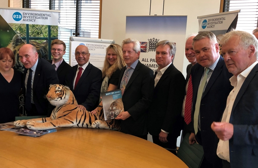 Henry Smith MP has called for urgent action to end the killing of tigers and other big cats by halting trade in their parts and products.  At an event co-hosted by the All-Party Parliamentary China Group and the Indo-British All-Party Parliamentary Group, along with wildlife campaigners from the Environmental Investigation Agency (EIA), the Crawley MP expressed serious concern over the existential crisis facing the world's tigers and other big cats from killing to meet demand for body parts.  Henry said;  ""