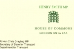 Henry Smith MP letter to Transport Secretary on rail fares