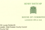 Henry Smith MP letter to Leader of West Sussex County Council on Crawley Open House