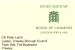 Henry Smith MP letter to Leader of Crawley Borough Council on homelessness support