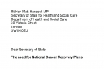 Joint Cancer APPG letter to Health & Social Care Secretary on the need for National Cancer Recovery Plans